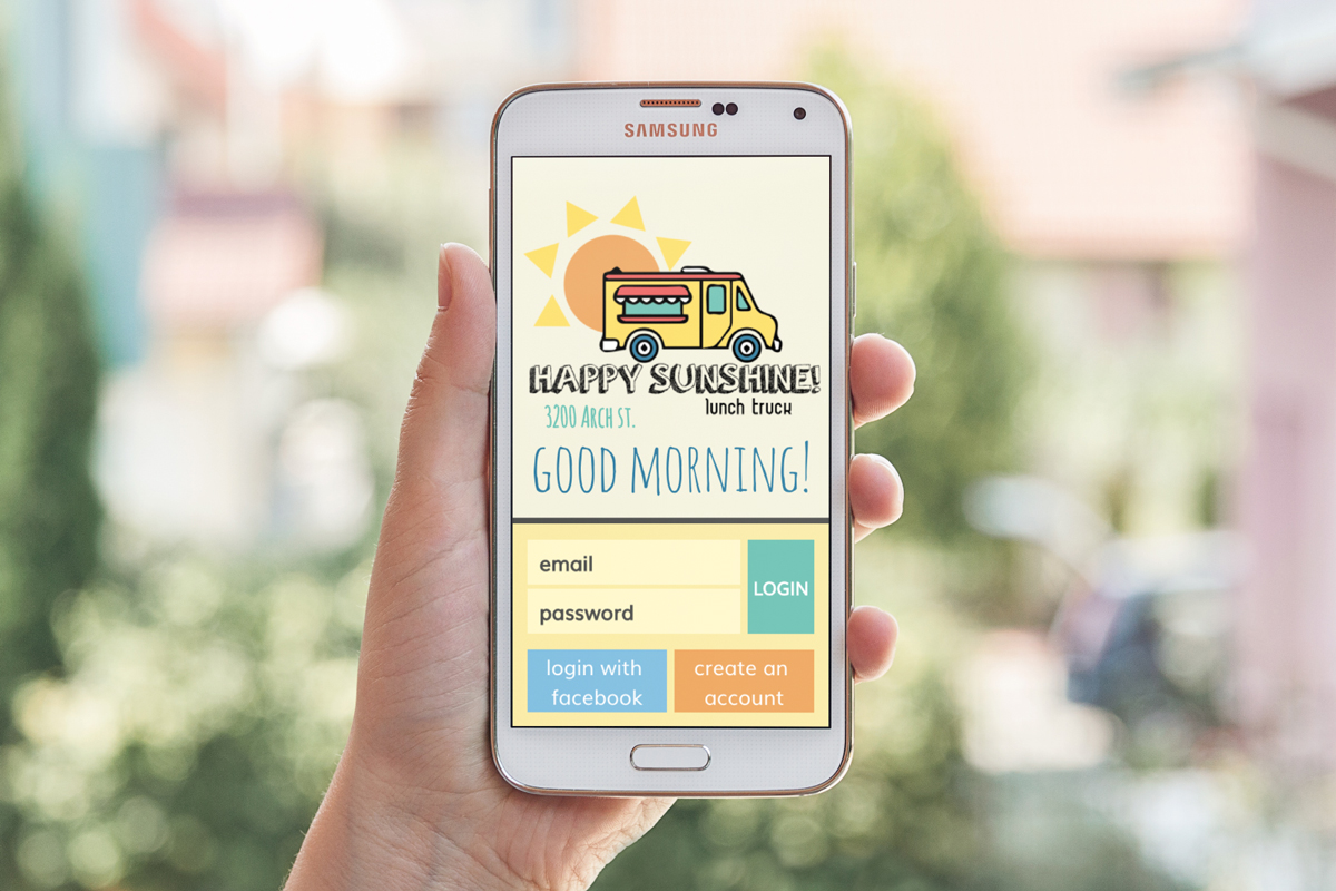 Happy Sunshine Food Truck App Login Screen
