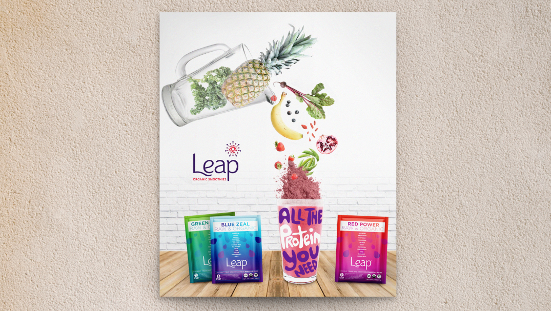 Promotional Poster Design for Health Food Start-Up Leap Smoothies